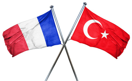 isolation backdrop: France flag combined with turkey flag Stock Photo