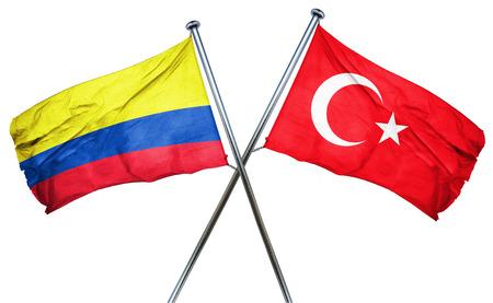 bandera de colombia: bandera de Colombia combinado con la bandera de pavo Foto de archivo