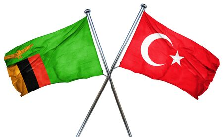 isolation backdrop: Zambia flag combined with turkey flag