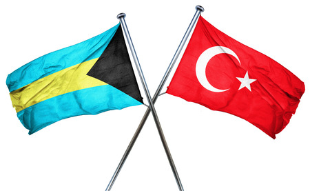 isolation backdrop: Bahamas flag combined with turkey flag Stock Photo