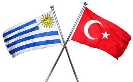 isolation backdrop: Uruguay flag combined with turkey flag Stock Photo