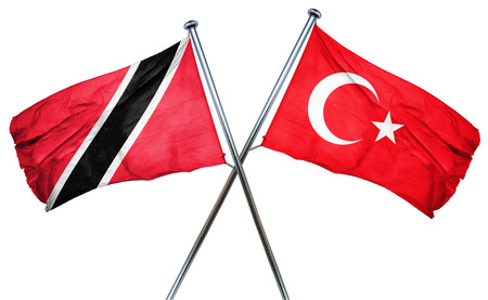 isolation backdrop: Trinidad and tobago flag combined with turkey flag Stock Photo
