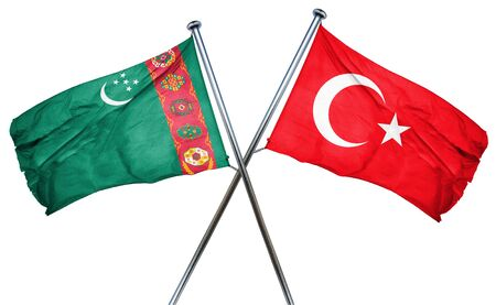 turkmenistan: Turkmenistan flag combined with turkey flag Stock Photo