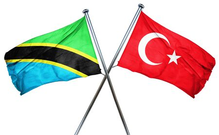 combined: Tanzanian flag combined with turkey flag Stock Photo