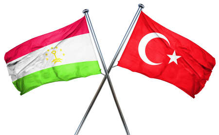isolation backdrop: Tajikistan flag combined with turkey flag