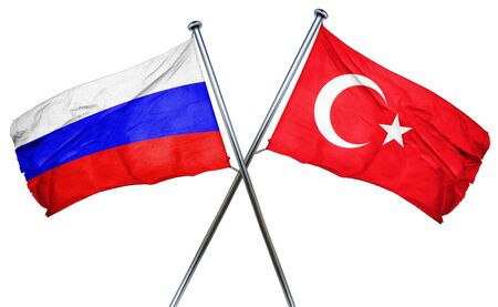 turkey flag: Russia flag combined with turkey flag Stock Photo