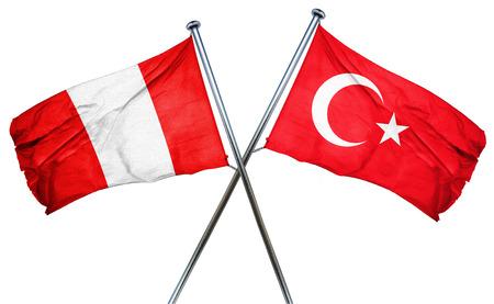 turkey flag: Peru flag combined with turkey flag Stock Photo