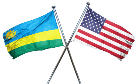 isolation backdrop: Rwanda flag combined with american flag Stock Photo