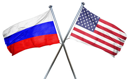 amity: Russia flag combined with american flag