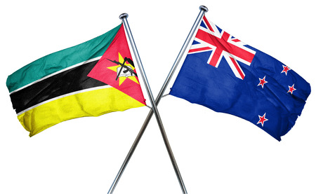 isolation backdrop: Mozambique flag combined with new zealand flag