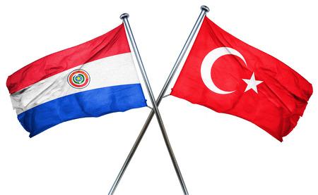 bandera de paraguay: bandera de Paraguay combinada con la bandera de pavo Foto de archivo