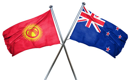 kyrgyzstan: Kyrgyzstan flag combined with new zealand flag Stock Photo
