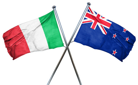 isolation backdrop: Italy flag combined with new zealand flag