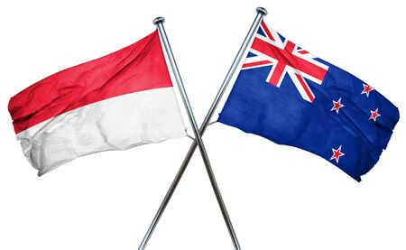 isolation backdrop: Indonesia flag combined with new zealand flag Stock Photo
