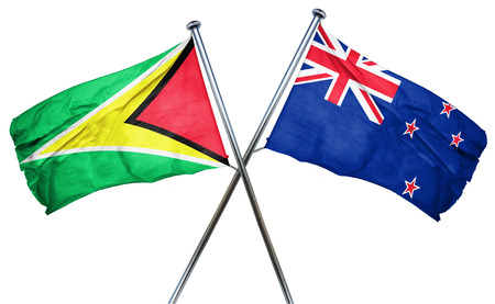 combined: Guyana flag combined with new zealand flag
