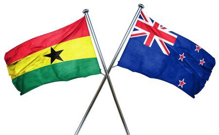isolation backdrop: Ghana flag combined with new zealand flag Stock Photo