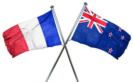 Francia bandera combina con bandera de Nueva Zelanda Foto de archivo - 56728943