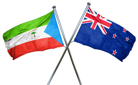 isolation backdrop: Equatorial guinea flag combined with new zealand flag Stock Photo