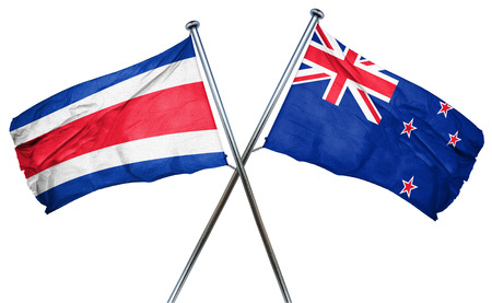 rican: Costa Rica flag combined with new zealand flag Stock Photo