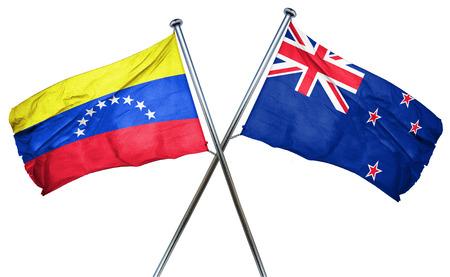 bandera de venezuela: bandera de Venezuela combina con bandera de Nueva Zelanda Foto de archivo