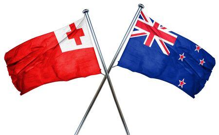 isolation backdrop: Tonga flag combined with new zealand flag