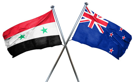 isolation backdrop: Syria flag combined with new zealand flag
