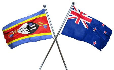 combined: Swaziland flag combined with new zealand flag Stock Photo