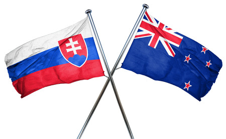 slovakia flag: Slovakia flag combined with new zealand flag Stock Photo