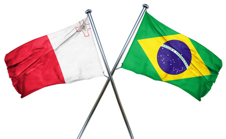 treaty: Malta flag combined with brazil flag