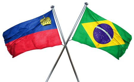 isolation backdrop: Liechtenstein flag combined with brazil flag Stock Photo