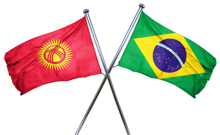 treaty: Kyrgyzstan flag combined with brazil flag Stock Photo