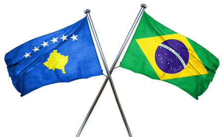 isolation backdrop: Kosovo flag combined with brazil flag