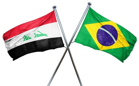 isolation backdrop: Iraq flag combined with brazil flag