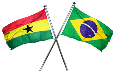 isolation backdrop: Ghana flag combined with brazil flag