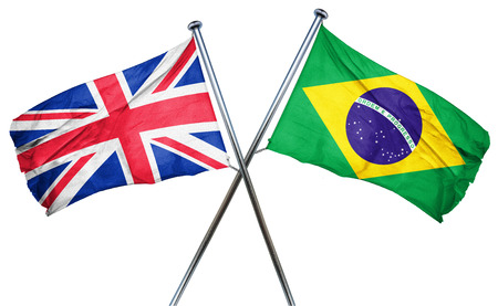 british culture: Great britain flag combined with brazil flag