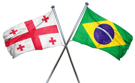 isolation backdrop: Georgia flag combined with brazil flag Stock Photo