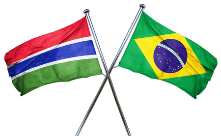 isolation backdrop: Gambia flag combined with brazil flag