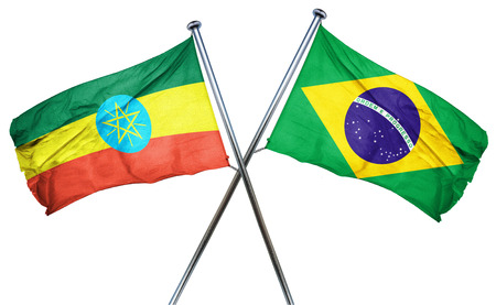 combined: Ethiopia flag combined with brazil flag Stock Photo