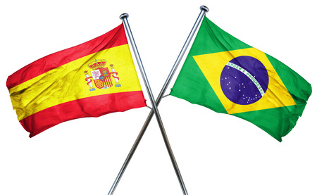 isolation backdrop: Spanish flag combined with brazil flag Stock Photo