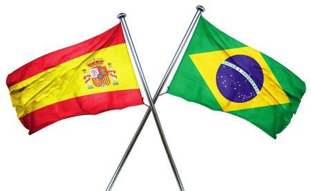 spanish flag: Spanish flag combined with brazil flag Stock Photo