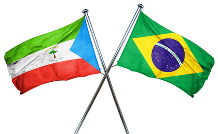 equatorial: Equatorial guinea flag combined with brazil flag Stock Photo
