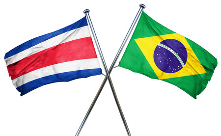 rican: Costa Rica flag combined with brazil flag Stock Photo