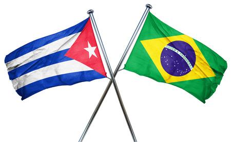 cuba flag: Cuba flag combined with brazil flag Stock Photo