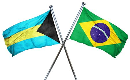 combined: Bahamas flag combined with brazil flag Stock Photo