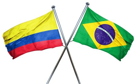 bandera de colombia: bandera de Colombia combinado con la bandera de Brasil Foto de archivo