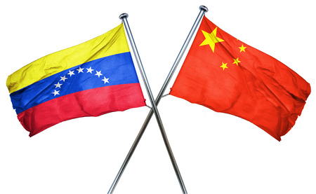 isolation backdrop: Venezuela flag combined with china flag Stock Photo