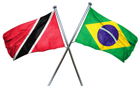isolation backdrop: Trinidad and tobago flag combined with brazil flag Stock Photo