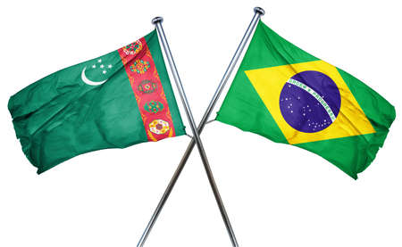 combined: Turkmenistan flag combined with brazil flag