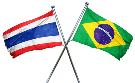 treaty: Thailand flag combined with brazil flag Stock Photo