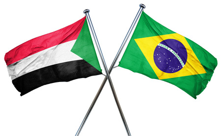 isolation backdrop: Sudan flag combined with brazil flag